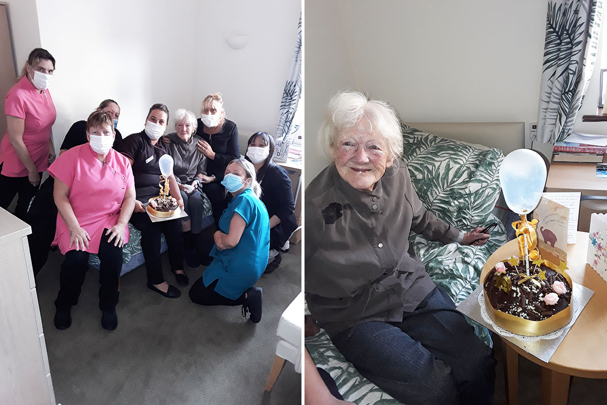 Birthday celebrations for Mavis at Silverpoint Court Residential Care Home