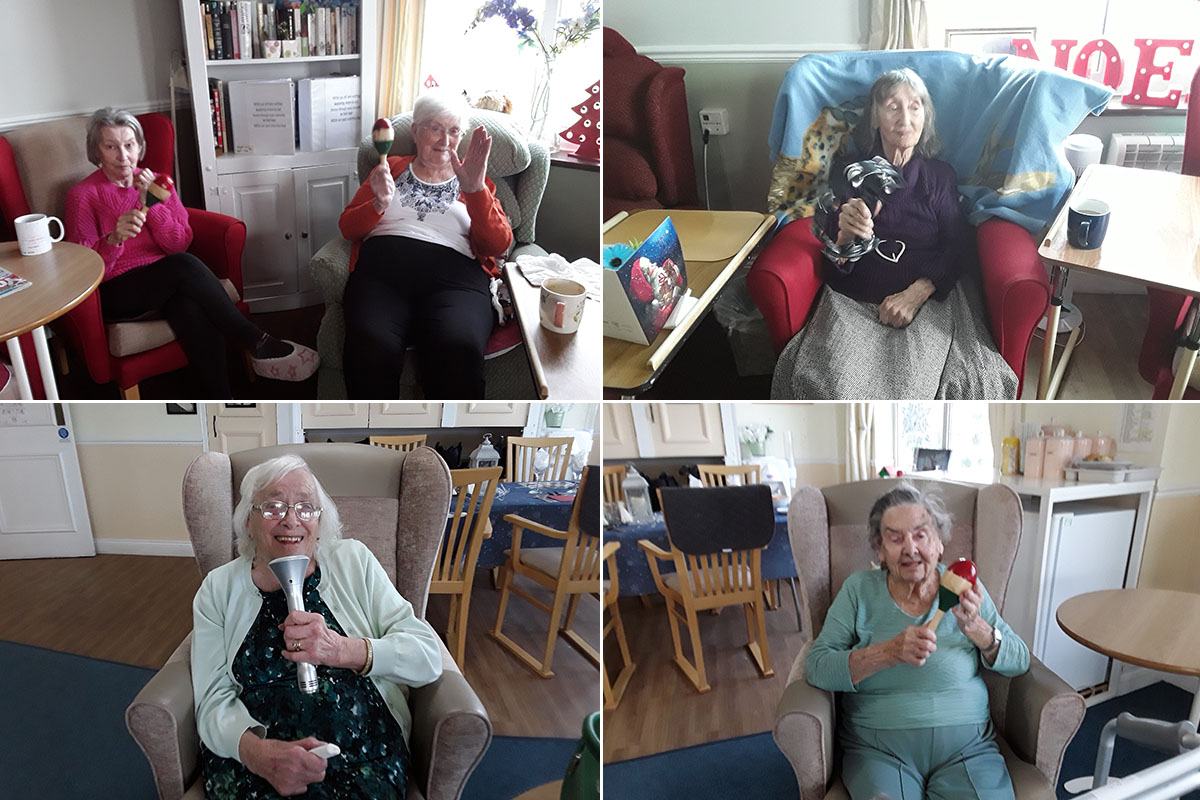 Seated exercised with Elvis at Silverpoint Court Residential Care Home