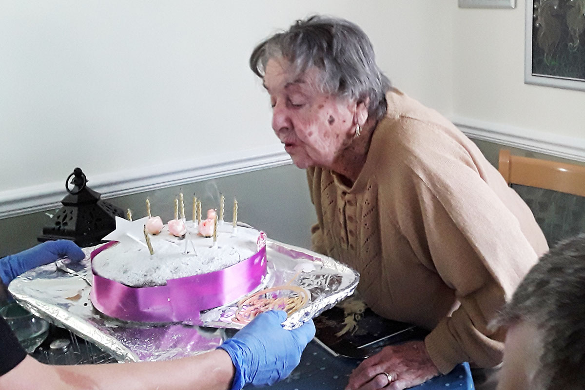 Birthday celebrations for Doris at Silverpoint Court Residential Care Home