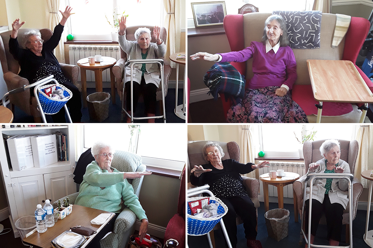Seated exercises at Silverpoint Court Residential Care Home