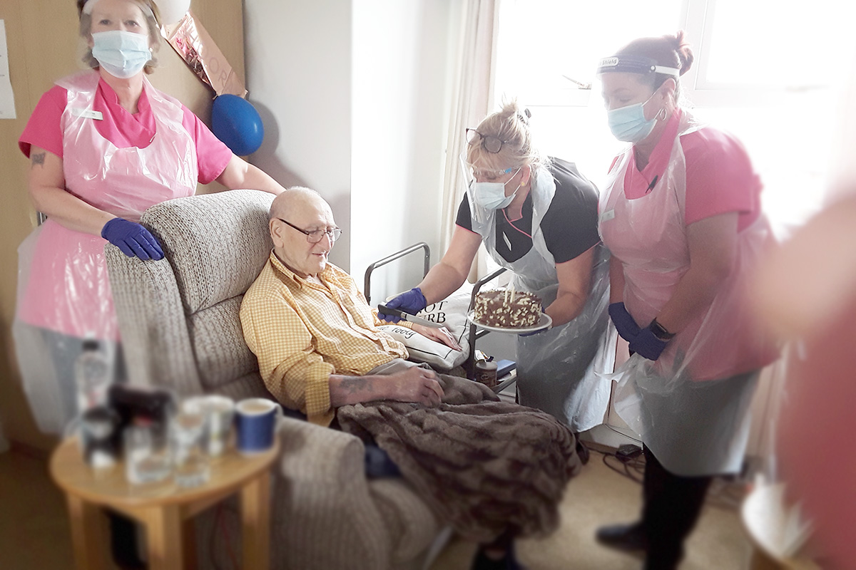 Birthday celebrations for Bob at Silverpoint Court Residential Care Home