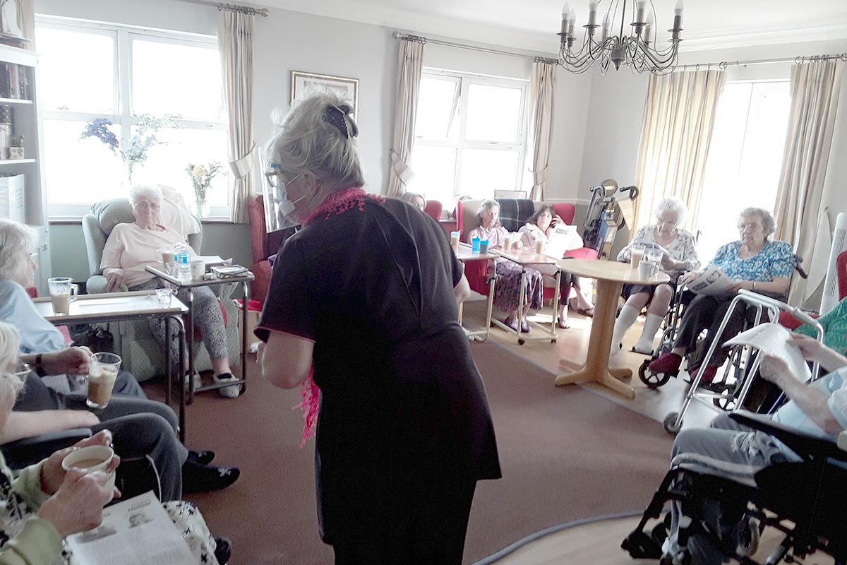 Coffee and quiz time at Silverpoint Court Residential Care Home