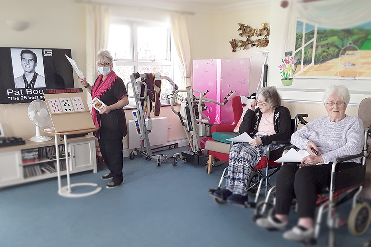 Card games and online quiz at Silverpoint Court Residential Care Home