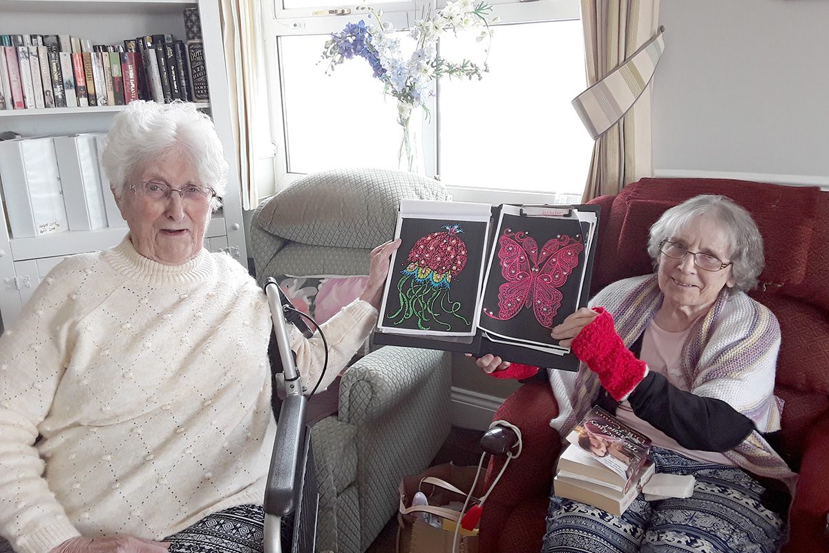 Colouring and a quiz champion at Silverpoint Court Residential Care Home