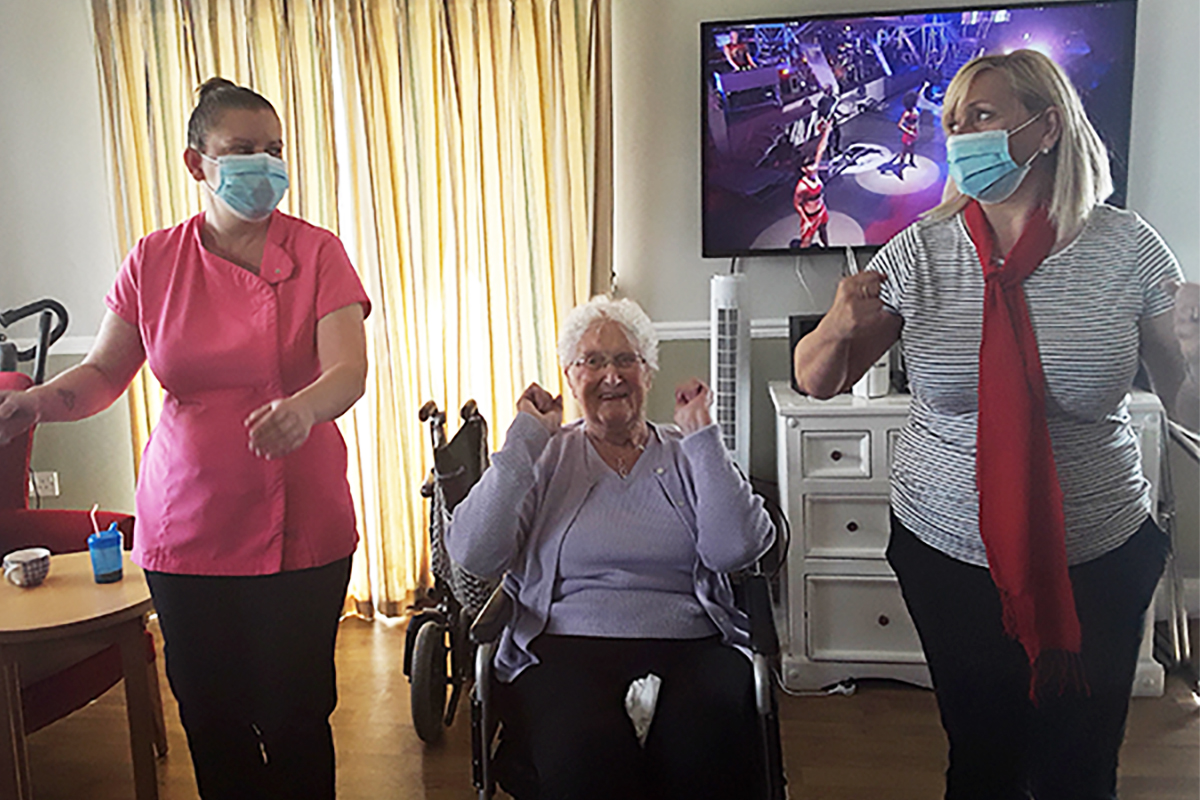 Move it or lose it exercise class at Silverpoint Court Residential Care Home