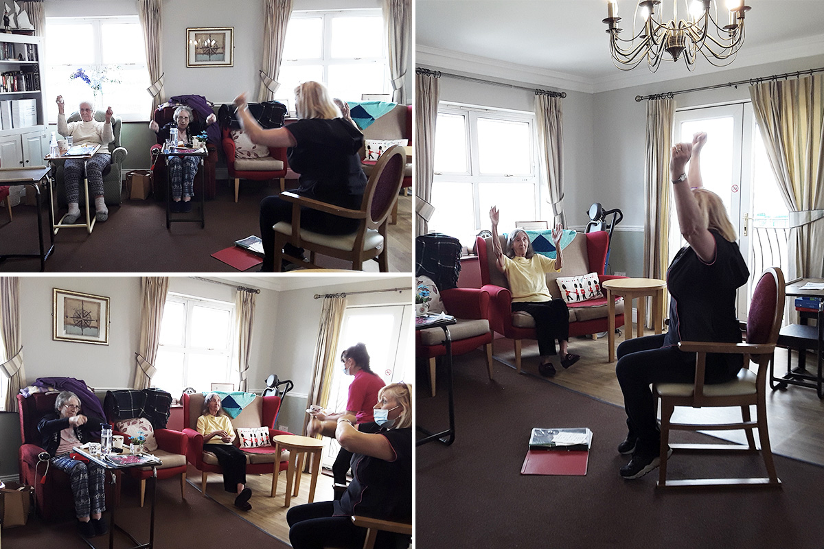 Keep fit class at Silverpoint Court Residential Care Home