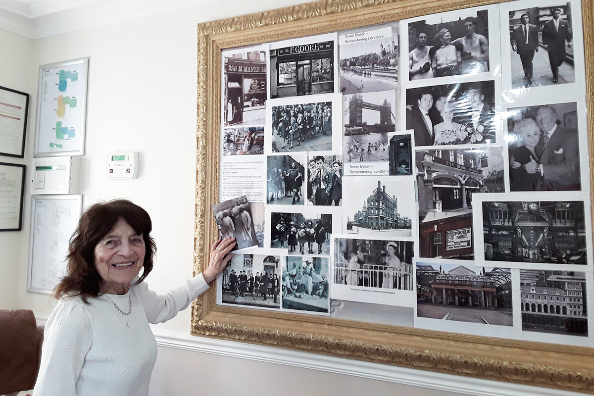 Pontoon and historical photographs at Silverpoint Court Residential Care Home