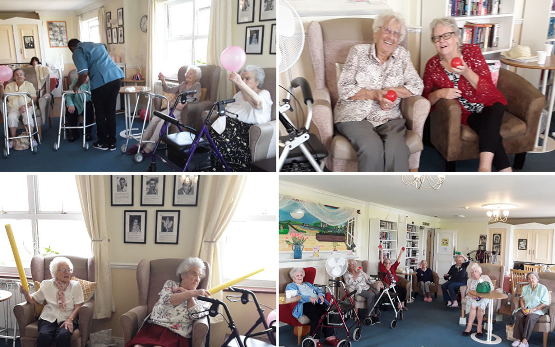 Exercises and Boccia at Silverpoint Court Residential Care Home