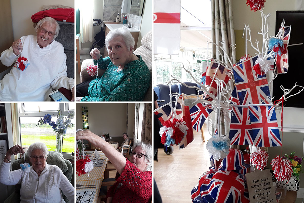 Patriotic pom poms at Silverpoint Court Residential Care Home