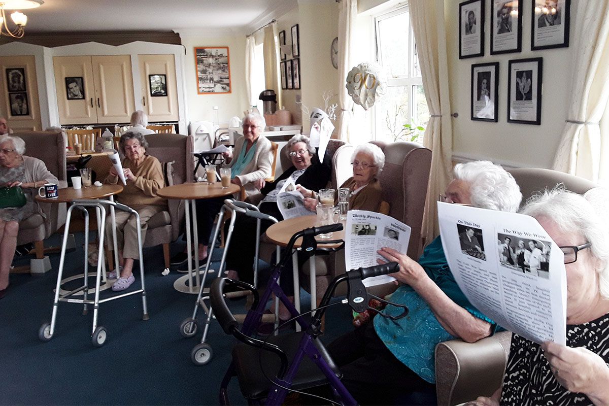 Reminiscence topics and a singalong at Silverpoint Court Residential Care Home