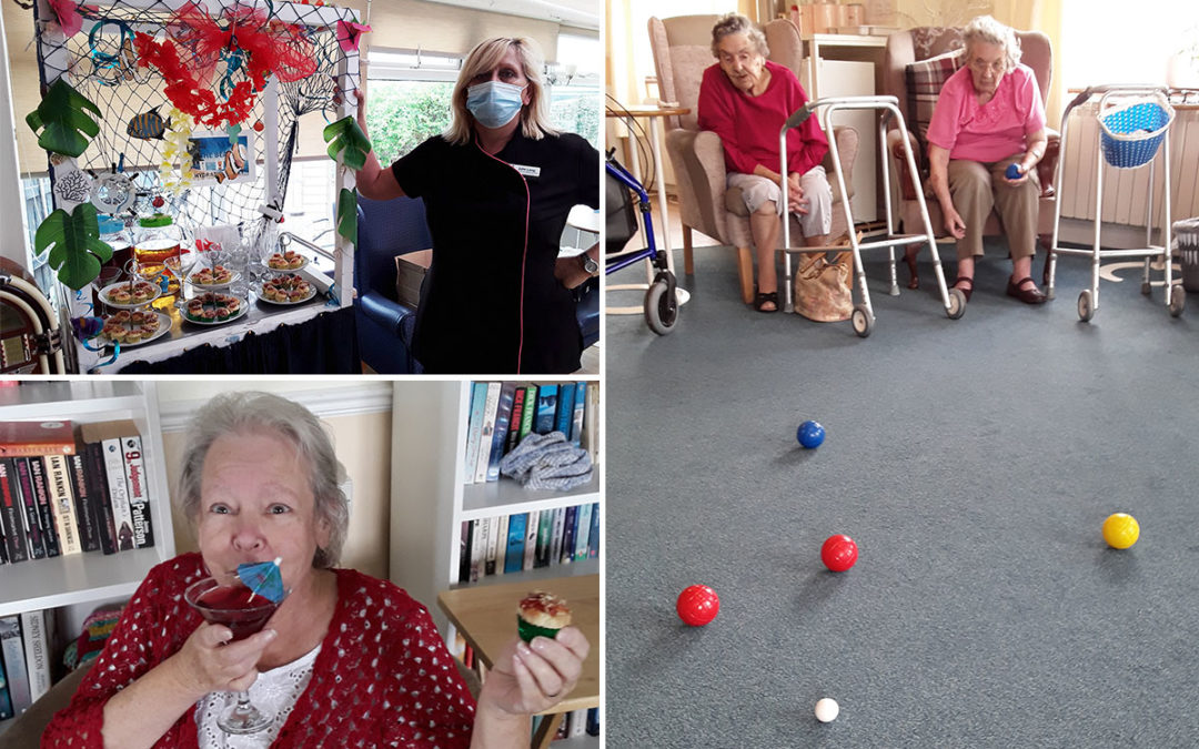 Botcha game and sipping sangria at Silverpoint Court Residential Care Home