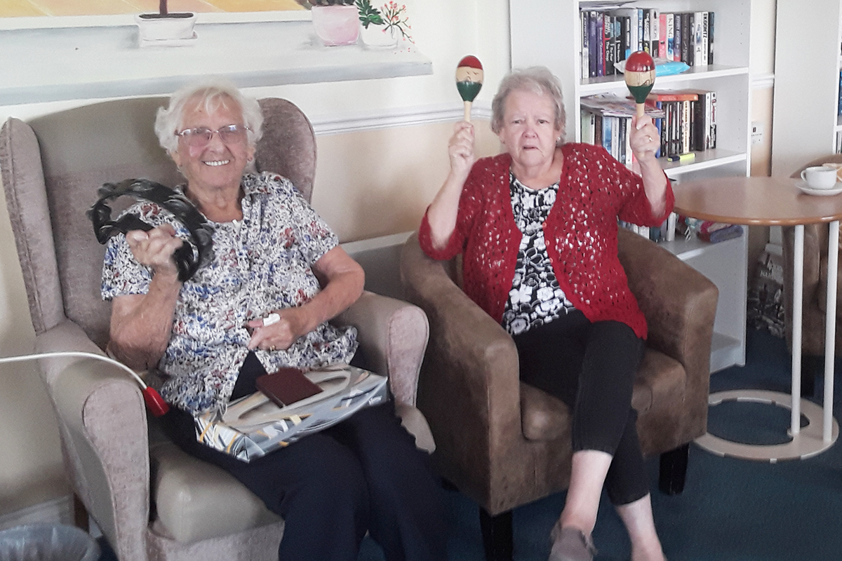 Silverpoint Court Residential Care Home residents enjoy music and games