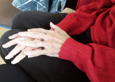 Close up of resident's hands with pampered nails at Silverpoint Court Residential Care Home