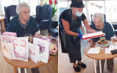 Silverpoint Court Residential Care Home resident with her birthday cards and cake