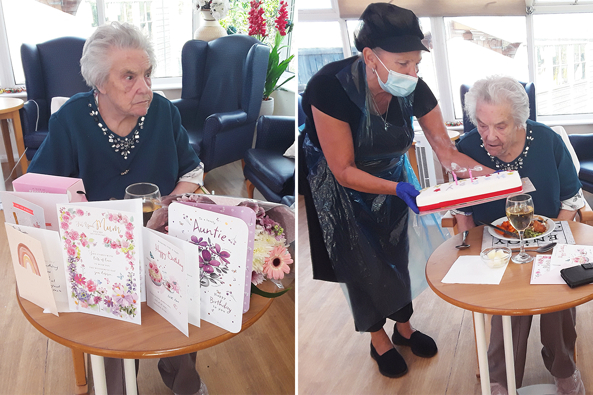 Birthday celebrations for Joyce at Silverpoint Court Residential Care Home